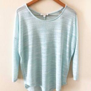 Olive & Oak light blue sheer sweater top
